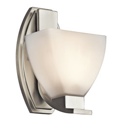 KICHLER - KICHLER Claro Modern / Contemporary Wall Sconce X-IN31154 - The sleek lines, contemporary style and subtle traditional details are accentuated by a crisp Brushed Nickel finish on this Kichler Lighting wall sconce. From the Claro Collection, an angular satin etched cased opal glass shade completes the look.