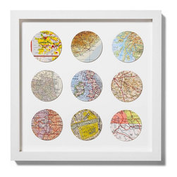 Bespoke Nine Circle Map Art By Bombus - I love this unique idea! You pick the places and they find the vintage maps and create a gorgeous piece of art.