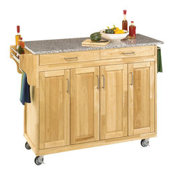 Home Styles - Home Styles Create-a-Cart 49 Inch Salt and Pepper Granite Top Kitchen Cart in Na - Home Styles - Kitchen Carts - 92001013 - Home Styles Create-a-Cart Kitchen Cart in a natural finish with a salt and pepper granite top features solid wood construction, four cabinet doors open to storage with three adjustable shelves inside, handy spice rack with towel bar, paper towel holder, and heavy duty locking rubber casters for easy mobility and safety.
