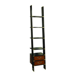 """Library Ladder - The library ladder measures 17.75"""" x 19.75"""" x 96.50"""". Like a real Library Ladder this one folds on brass hinges and is easily installed. The top and bottom have brass sleeves on four sides. It fits together with wood dowels and screws. It ships in two parts and is easily assembled. Flush inlaid brass hardware includes hefty bronzed drawer handles. It features five shelves and two drawers. This bookcase will survive for centuries."""