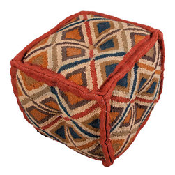 Jaipur - Bedouin Pouf, Indus - You can get it all — earthy color, tribal pattern and extra seating — with this pouf. It's hand woven from wool and jute and stitched together in a soft cube for casual comfort. Picture several around a low cocktail table for game night. Jenga, anyone? These are great for those times when you have more guests than chairs — or just want to put your feet up in comfort and style.