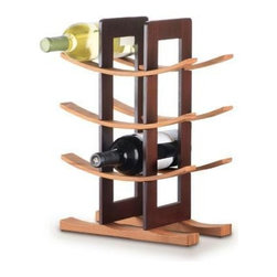 Anchor Hocking - Bamboo Wine Rack Espresso - Anchor Hocking Bamboo Wine Rack w/ Espresso Accents - Gift Boxed - Stylish wine rack with modern Asian aesthetic holds 12 bottles - 3 curved shelves and base in natural bamboo.  supports with espreStainless Steelo finish - Easy to assemble