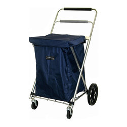 None - Blue Canvas Cart - Carry your contents in style with this classy canvas grocery bag. Made from durable steel and canvas,this bag is designed to hold up to 80 pounds,and it features a protective cover for keeping items dry and front wheels for easy mobility.