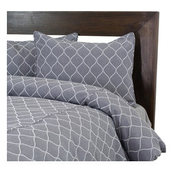 "Sands - Chooty - Oh Gee Heather Grey Corded Standard Cut Queen Duvet and 2 Corded Shams - Complete your bed set with the stylish and comfy look and feel of this Duvet Set. The corded duvet provides a beautiful grey background for elegant white embroidery in a figure-eight design that is trendy and modern. Matching shams (2) complete the ensemble. Your room will be transformed with an air of sophistication!  (Queen Size 90""W x 94""L)"