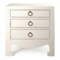 Bungalow 5 Jacqui White 3-Drawer Side Table - Lacquer Finish: Gold Ring Pulls.