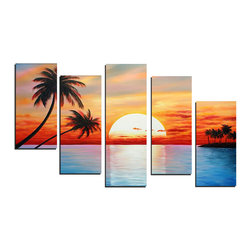 fabuart - Contemporary Sunset Painting 347 - 40 x 34in - This beautiful Art is 100% hand-painted on canvas by one of our professional artists. Our experienced artists start with a blank canvas and paint each and every brushstroke by hand.