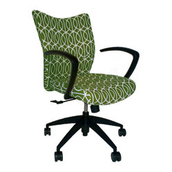 9 to 5 Seating - Upholstered Desk Chair - You'll be a whiz at work with smart seating like this. Plush upholstery in a fabric that's as durable as it is stylish, plus curved arms and swivel/tilt motion, make any job a joy.