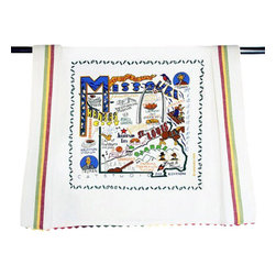 CATSTUDIO - Missouri State Dish Towel by Catstudio - This original design celebrates the state of Missouri from Elephant Rocks to Kansas City to Jefferson City to the Ozarks.  This design is silk screened, then framed with a hand embroirdered border on a 100% cotton dish towel/ hand towel/ guest towel/ bar towel. Three stripes down both sides and hand dyed rick-rack at the top and bottom add a charming vintage touch. Delightfully presented in a reusable organdy pouch. Machine wash and dry.