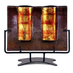 Bronze Age - Brown and Gold Fused Glass Vase Display - This gorgeous Brown and Gold Fused Glass Vase Display has the finest details and highest quality you will find anywhere! Brown and Gold Fused Glass Vase Display is truly remarkable.