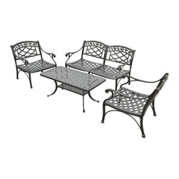 Crosley - Sedona 4 Piece Cast Aluminum Outdoor Conversation Seating Set - Dimensions: 34 x 31 x 10 inches