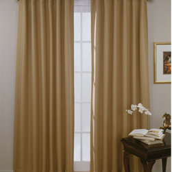 Eclipse - Fresno Wheat 52-Inch x 84-Inch Blackout Window Curtain Panel - - Experience the darkness, silence and beauty of Eclipse curtains.   - Eclipse? ultra-fashionable blackout panels have been laboratory-tested to block out over 99% of outside light, up to 40% of unwanted noise and can help to save up to 25% off home heating and cooling costs.   - Eclipse Curtains combine functionality with the versatility and style needed to enhance any room in your home.   - Hang them in your media room for the ultimate home theater experience, or in your dining area to create an intimate date night.   - Eclipse Curtains are also designed to be perfect in the bedroom, kid?s room or nursery to create the ideal sleep environment for the whole family.   - National Sleep Foundation studies show that blocking unwanted light and noise while you sleep helps create the optimal sleeping environment.   - The magic is in the Thermaweave construction.   - The innovative triple-weave design allows you to enjoy all of the light-blocking, noise reducing and energy saving benefits, while providing the same fashionable style and elegance of naturally flowing curtains.   - Hang two or more curtain panels on a standard or decorative rod for optimal coverage and desired effect.   - Sold as a single panel that can be featured as rod-pocket or backtab.   - Panel measures 52?W x 84L.   - This soft fabric has an elegant texture.   - Rod sold separately.   - 100% Polyester.   - Machine wash gentle cycle, tumble dry, do not bleach.   - Imported.   - Panel only. Eclipse - 11353052X084WHT