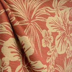 Hanalei Hibiscus Chili Tropical Floral Upholstery Fabric By The Yard - Hanalei Hibiscus in the color Chili is a upholstery weight tropical floral fabric. Cotton polyester blend gives this fabric a soft feel.