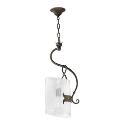 Kathy Kuo Home - Somerset Wrought Iron Organic Sculpted 1 Light Curved Pendant - Industrial and rustic elements come together in this unique piece to form a feminine, organic fixture that would be perfect in a lodge or loft.  Frosted glass, resembling ice is gently 'folded' over the light bulb, which hangs from a delicate figure-8 of iron and is supported by a decorative hinge.