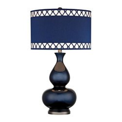 Dimond - One Light Navy Blue With Black Nickle Blue, Faux Silk Shade Table Lamp - One Light Navy Blue With Black Nickle Blue, Faux Silk Shade Table Lamp