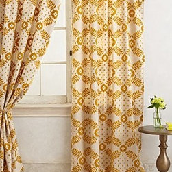 """Anthropologie - Karelia Brocade Curtain - Sold individuallyTunnel tab constructionLinen; cotton liningDry clean50""""WImported"""
