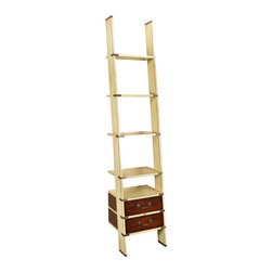 "Inviting Home - Library Ladder Leaner Shelves - Ivory - Library ladder leaner shelves in antique ivory finish; 17-3/4"" x 19-3/4"" x 96-1/2""H; Library ladder leaner shelves in antique ivory finish. Like a real Library Ladder this one folds on brass hinges and is easily installed. Top and bottom of leaner shelves unit have brass sleeves on four sides. Flush inlaid brass hardware includes hefty bronzed drawer handles. This leaner shelves will survive for centuries..."
