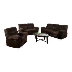 "Acme - 3-Piece Loakin Collection Chocolate Champion Super Plush Microfiber Set - 3-Piece Loakin collection chocolate champion super plush microfiber upholstered motion sofa, love seat and recliner with recliner ends. This set includes the sofa, love seat and single recliner with a chocolate microfiber upholstery with reclining seats on the recliner, love seat and sofa with overstuffed arm rests. Sofa measures 96"" x 40"" x 41"" H. Love seat measures 73"" x 40"" x 41"" H. Single recliner measures 49"" x 40"" x 41"" H, Some assembly may be required."