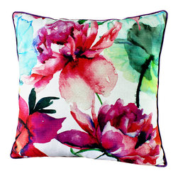 14 Karat Home - Milla Pillow - Vibrant Watercolor digital print in accents of pinks and blues to enhance the beautiful, bright hues. This artistic pillow looks as if the flower was painted on. The fabric binding around the pillow adds an extra special touch.  Create an unconventional and inviting look in your living space by adding this bright-hued, eye popping printed pillow.