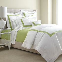 """SFERRA - SFERRA Two King Satin-Stitched Pillowcases - A sharp and modern bedding ensemble just right for any room. Sferra takes smooth white Egyptian cotton percale and adds a 2"""" wide Egyptian cotton sateen band in your choice of colors. Duvet covers have the band on three sides; shams have the band on a..."""