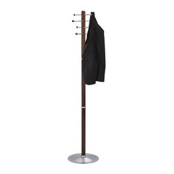 """Safco - Safco Cherry Wood Standing Coat Rack - Safco - Coat Racks - 4193CY - Provide guests with the welcoming convenience of this office coat rack. The Safco cherry wood costumer features eight oversized hooks that securely hold up to eight coats or jackets with ball tips to prevent damage to garments. Wide 15"""" base provides stability."""