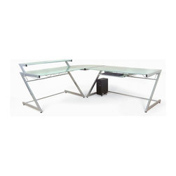 Euro Style - Contemporary L-Shaped 3 Pc Corner Desk w Glas - Add Hanging File: Hanging File - Aluminum/FrostTable Includes: Large Table, Corner Table, and Small Shelf Table, and keyboard tray. Made of Steel frame and Glass Top. Adjustable feet. Heavy duty powder epoxy coated . Tempered frosted glass desk top and shelves. Aluminum and Frosted Glass. Some assembly required. Assembly Instructions. Small Desk w/ Shelf: 38 in. W x 30 in. L x 37.5 in. H (57.36 lbs.). Large Desk: 30 in. W x 61 in. L x 31.0 in. H (68.8 lbs.)