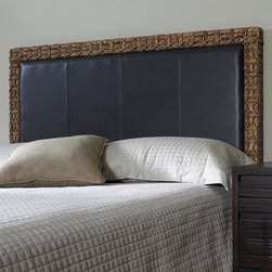 Padmas Plantation - Headboard Gallery Panel Headboard - This headboard features a center panel upholstered in faux leather paired with a border woven of abaca fiber. Features: -Hardware is included for pairing with a standard metal bed frame.-Abaca primary construction.-Faux leather, rattan, hardwood frame secondary construction.-Headboard Gallery collection.-Distressed: No.