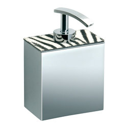 Windisch - Wall Mounted Chrome Soap Dispenser with Zebra Design - Contemporary style wall mounted soap dispenser with zebra design on top made of chromed brass.
