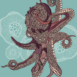 Murals Your Way - Octopus Bloom Vinyl Wall Decal Wall Art - Created by Valentina Ramos. Octopus Bloom wil be a great addition to any room in your home or business