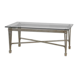 Antiqued Silver Leaf and Glass Coffee Table - *Forged Iron Highlighted In Antiqued Silver Leaf With A Clear, Tempered Glass Top Spotlighting The Understated, Regal Design Of A Well-made Table.