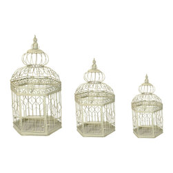 ecWorld - Urban Designs Vintage Decorative Metal Bird Cages (Set of 3) - Versatile accent pieces for a variety of decorating themes. All different sizes. Perfect for decorating outdoors or indoors.