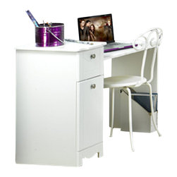 Nexera - Nexera Dixie Wood Vanity/Student Desk in White - Nexera - Computer Desks - 310803 - Nexera's Dixie Collection was designed with your princess in mind and is constructed from quality engineered wood giving it great strength and durability to last for many years. The surfaces drawer fronts and moldings of all items in this collection have a rich soft white lacquer finish and the sides are covered with a rich white laminate finish. Fresh clean lines rounded edges and convenient storage spaces of the Dixie collection make it the perfect choice for your child's bedroom. With a practical design including a spacious drawer and an enclosed storage cupboard fit with an adjustable shelf this desk will prove to be a great addition to your child's room. White lacquer finish creates a fresh look while the solid metal knobs and sturdy frame add to the durability of this piece. Pair with Nexera's Dixie mirror to add functionality to this piece.