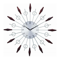 Control Brand - The Noyes Sunburst Clock - Contemporary style. Natural selected solid woods hour markers. Steel rods to point on star. Made in Taiwan. 2 in. depth. 20 in. Dia. (1.32 lbs.)A real eye catching wall clock sure to be a statement piece in any home or office.