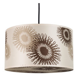 Lights Up! - Meridian Medium Pendant Lamp, Tan Cornflower Silk - A pendant lamp that's a shade above the rest! With big and beautiful tan and brown cornflowers blooming on its silk shade, this lamp will blossom in your contemporary home. Hang a pair of pendants on either side of the bed — or go for some flower power over the kitchen counter or dining room table.