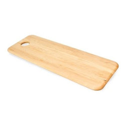 J K Adams Summit Collection Cutting Board - Martin - The J K Adams Summit Collection Cutting Board – Martin has an extended rectangular design that's ideal for dealing with kabobs, cucumbers, fresh fish, and other long and shapely items. Handcrafted from durable maple wood with a clear teak oil finish, this American-made cutting board features contoured corners and inset top circle for easy wall hanging storage.About J.K. Adams J.K. Adams has been designing, manufacturing, and distributing wood products from Dorset, Vermont, since 1944. Their philosophy can be summed up by the three short phrases painted on large signs hanging from the factory ceiling: Quality First. Production Next. Safety Always. Judging from the company's longevity and success, this business model works. Each J.K. Adams product begins with the finest Northeastern kiln-dried lumber. By combining functionality, aesthetics, and quality manufacturing techniques, the company creates exceptional wooden products that last a lifetime.