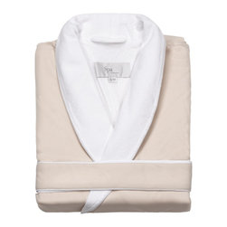 Kassatex - Kassatex Spa Bath Robe, Cream - Pamper yourself without stripping in front of strangers. This luxurious bathrobe is like getting that spa feeling at home any time you want. It features a velvety microfiber exterior in your choice of colors with a generous shawl collar and soft contrasting lining. Go ahead — indulge yourself.