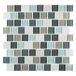 MS International - Glacier Peak 1.25 in. x 1.25 in. Multi Mesh-Mounted Mosaic Tile-Box of 5 Sheets - Brighten your decor with the M S International Inc Glacier Peak 12 in. x 12 in. Multi Mesh-Mounted Mosaic Tile. Designed for wall use, this tile is made of a mixture of glass and stone and features a multicolored mosaic design with a slight variation in tone to help add style to your space. This impervious tile has an unglazed smooth finish and a water absorption of less than 0.5%. This tile has a P.E.I. Rating of 0 and is frost resistant to suit your needs.
