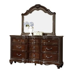 Homelegance - Homelegance Hampstead Court 9-Drawer Dresser with Mirror in Rich Cherry - Your design preference runs on the elegant side of traditional. Sweeping scrolled carvings with delicate touches, bun feet with fluted texture, antiqued bale and knob hardware all blend to create the Hampstead Court collection. Further enhancing the traditional look is the stately low-profile manor bed that serves as the focal point of the suite. A traditional wheat sheaf motif, crests proudly above nail-head accented, padded dark brown bonded leather headboard. Completing the classic look of the collection is the rich cherry finish on cherry veneers and mappa burl veneers.