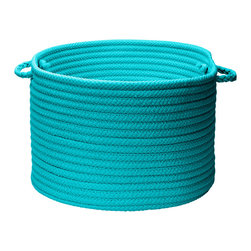"""Colonial Mills - Stripe It Storage Basket - Turquoise, 18"""" x 12"""" - Simple and stylish storage. Use this Turquoise braided storage basket in the nursery for diapers, kids room for toys or outdoors to store extra towels or lotions by the pool."""