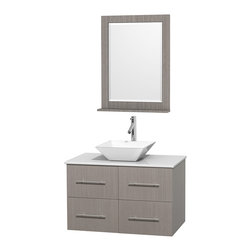 "Wyndham Collection - Centra 36"" Grey Oak Single Vanity, White Man-Made Stone Top,White Porcelain Sink - Simplicity and elegance combine in the perfect lines of the Centra vanity by the Wyndham Collection. If cutting-edge contemporary design is your style then the Centra vanity is for you - modern, chic and built to last a lifetime. Available with green glass, pure white man-made stone, ivory marble or white carrera marble counters, with stunning vessel or undermount sink(s) and matching mirror(s). Featuring soft close door hinges, drawer glides, and meticulously finished with brushed chrome hardware. The attention to detail on this beautiful vanity is second to none."