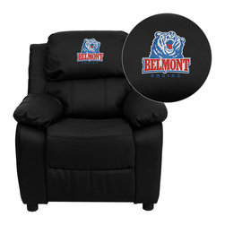 "Flash Furniture - Belmont University Bruins Embroidered Black Leather Kids Recliner - Get young kids in the college spirit with this embroidered college recliner. Kids will now be able to enjoy the comfort that adults experience with a comfortable recliner that was made just for them! This chair features a strong wood frame with soft foam and then enveloped in durable vinyl upholstery for your active child. This petite sized recliner features storage arms so kids can store items away and retrieve at their convenience.; Belmont University Embroidered Kids Recliner; Embroidered Applique on Headrest; Overstuffed Padding for Comfort; Durable Black Leather Upholstery; Easy to Clean Upholstery with Damp Cloth; Flip-Up Storage Arms; Storage Arm Size: 3.25""W x 6""D x 11""H; Solid Hardwood Frame; Raised Black Plastic Feet; Intended use for Children Ages 3-9; 90 lb. Weight Limit; Meets or Exceeds CA117 Fire Resistance Standards; Safety Feature: Will not recline unless child is in seated position and pulls ottoman 1"" out and then reclines; Assembly Required: Yes; Country of Origin: China; Warranty: 2 Years; Weight: 29 lbs.; Dimensions: 28""H x 25""W x 26 - 39""D"