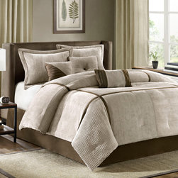 "Madison Park - Madison Park Dallas 7 Piece Comforter Set - For a casual look with added comfort, the Dallas comforter set is perfect for you. Made from polyester micro corduroy, the taupe comforter is pieced together in sections which are separated by chocolate brown taping and has a brushed fabric reverse. The shams in this cozy set have a 1"" flange around the edges and overlap opening in the back. This set will keep your warm in the winter but is lightweighht enough to keep you cozy during the warm months as well. Comforter & Sham: 100% polyester micro corduroy fabric pieced color blocks with taping , 100% polyester brushed fabric back, comforter with 270g/m2 poly fill, sham has overlap opening at back; Bedskirt: 100% polyester micro suede fabric drop, non-woven fabric platform; Square Pillow: 100% polyester faux suede fabric cover poly fill; Oblong Pillow: 100% polyester faux suede fabric cover with embroidery on face and all over piping, poly fill; Square Pillow: 100% polyester curduroy fabric cover co"