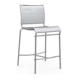 Calligaris - Air Counter Stool, Satin Frame, Grey - Finally, the bar stool that's both modern and casual! The frame is a clean, satin-finished steel, and the seat is an easy, breathable netting. In a light neutral gray, it can happily comingle with all your countertops or tables, simple to ornate.