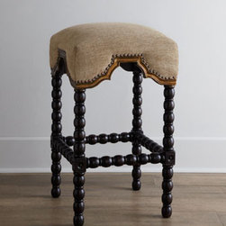 """Horchow - Pankita Barstool - Available in two heights to suit your needs, this stool is a bit more formal than you might expect. The """"draping"""" of the seat is highlighted by both burnished gold trim and nailheads for added emphasis. Natural burlap seat of woven jute. Peruvian oak...."""