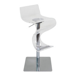 """LumiSource - Viva Barstool in Clear - Add movement and swing to any room. This curvaceous bar stool will make a statement in your home bar. For maximum comfort, adjust the seat with the hydraulic pump. Wood finish with polished chrome base, pole, and accents. Features: -Barstool. -Clear finish. -Acrylic and chrome construction. -Adjustable height barstool. -Seat made from acrylic 0.625"""" thick. -High back for added support. -Polished chrome weighted base for stability. -Instant movement and swing to any room. Dimensions: -Adjustable seat height from 24"""" to 31"""". -39"""" H x 16"""" W x 16"""" D, 49 lbs."""