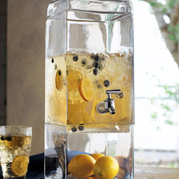 Horchow - Square Beverage Dispenser - If you're looking for a more modern beverage dispenser, I think this square clear glass option is a fantastic choice. The clear base allows you to display fruit, flowers, seashells or other decorative items to enhance your summer tablescape.