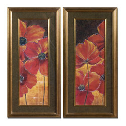 Red Gold Poppy Print Wall Art Set of 2 - *Vibrant reds and golds are displayed and surrounded by black, taupe and gold marble print mats.