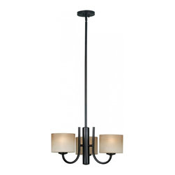 Kenroy Home - Kenroy Home Matrielle 3-Light Chandelier Oil Rubbed Bronze Finish - 80330ORB - Ideal for contemporary or casual decors, this versatile fixture can be hung as an up or down light. Removing extension poles will allow it to mount close to the ceiling. Ribbed glass completes this clean look. Mounts Close to Ceiling or as Chandelier.