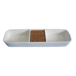 """Home Essentials - White Essential Rectangular Sectional Serving Dish - The understated simplicity of our White Essential Sectional Heart Serving Platter mixes well with the table linens and accents of your choosing, providing a splendid backdrop for your culinary creations!                              * Dimensions: 12"""" x 3""""              * Designed to stand up to the rigors of daily use               * Stick to stand toothpicks with finger foods upright               * Microwave & dishwasher safe               * Gift Boxed"""
