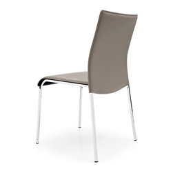 Calligaris - Easy Leather Side Chair in Thick Leather (Set - Fire Retardant. Elegant chair, ideal for dining rooms. It features a metal frame with 4 square legs. Thick-leather covered seat and backrest. Assembly required. Seat height: 18.125 in.. 18.75 in. W x 20.875 in. D x 32.875 in. H