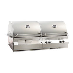 "Fire Magic - Aurora A830i1A1NCB NG Gas & Charcoal Combo 48"" Built In Grill - A830 Gas & Charcoal Combo Built In Grill Only with Infrared Burner System Aurora A830i Features:Wood chip smoker with dedicated 3,000 BTU's burner"